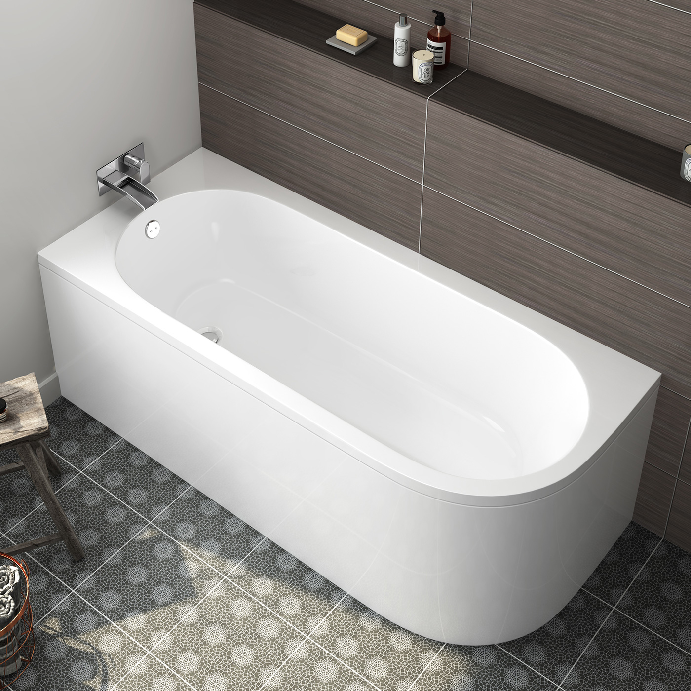 P Shape Shower Bath Modern Bathroom Bath Corner Back To Wall Bathtub Left Hand