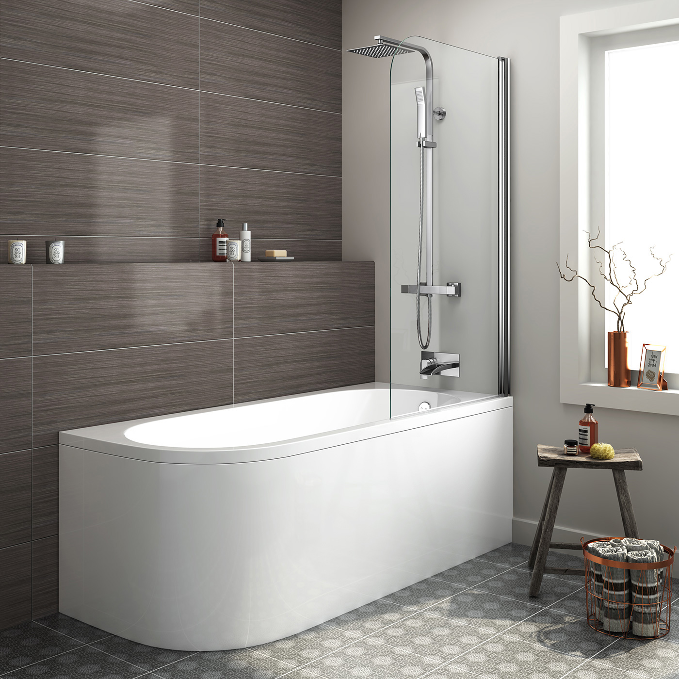 Modern Bathroom Bath Corner Back To Wall Bathtub And