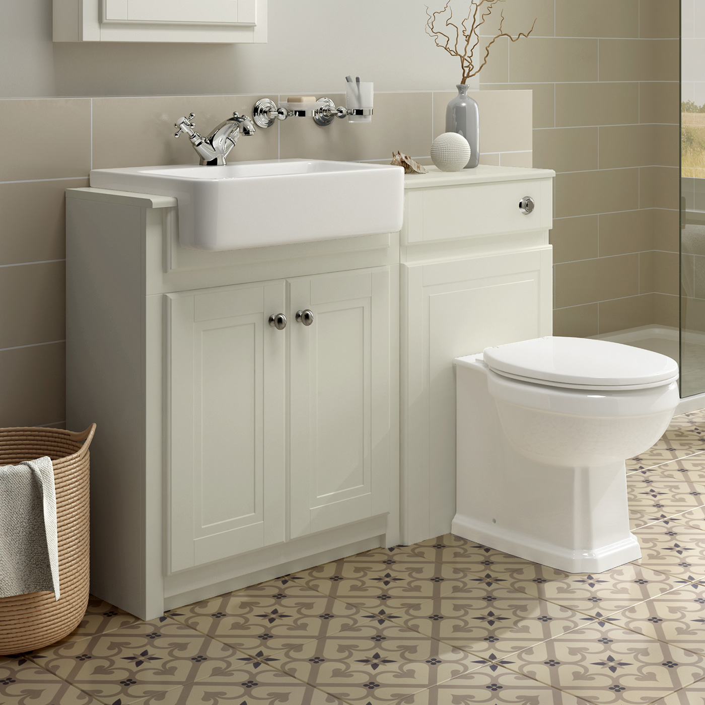 Traditional Combined Bathroom Furniture Sink Basin Vanity Unit & BTW Toilet