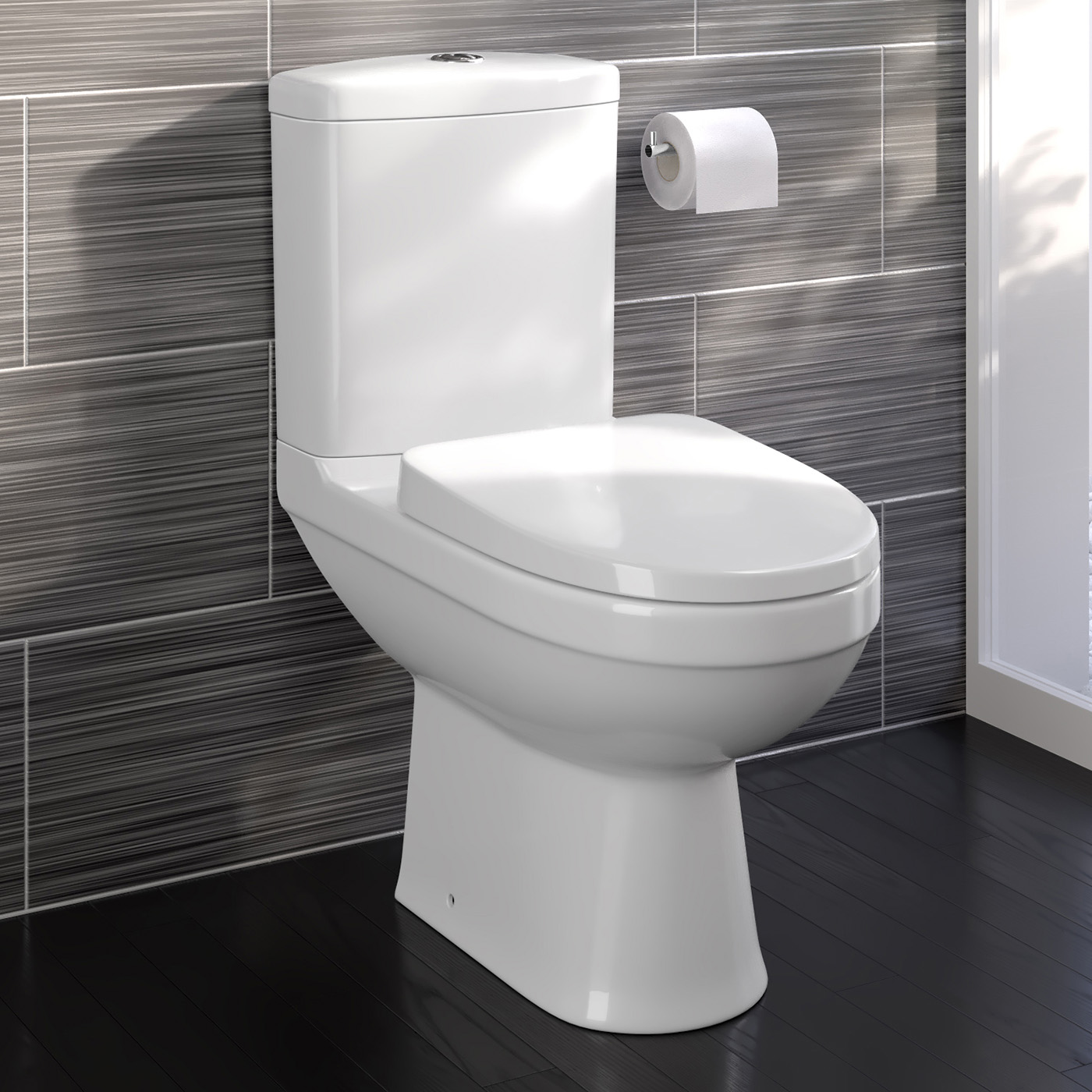 modern white ceramic close coupled toilet bathroom pan soft close  - bathroom mirrors